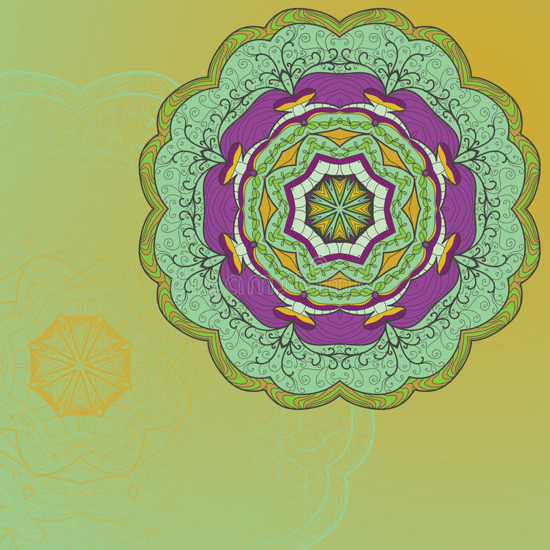 Carta disegnata a mano dell'ornamento del pizzo del cerchio royalty illustrazione gratis