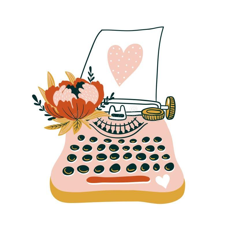 Carta disegnata a mano di vettore con la macchina da scrivere ed il cuore Illustrazione scandinava di stile, progettazione di amo royalty illustrazione gratis