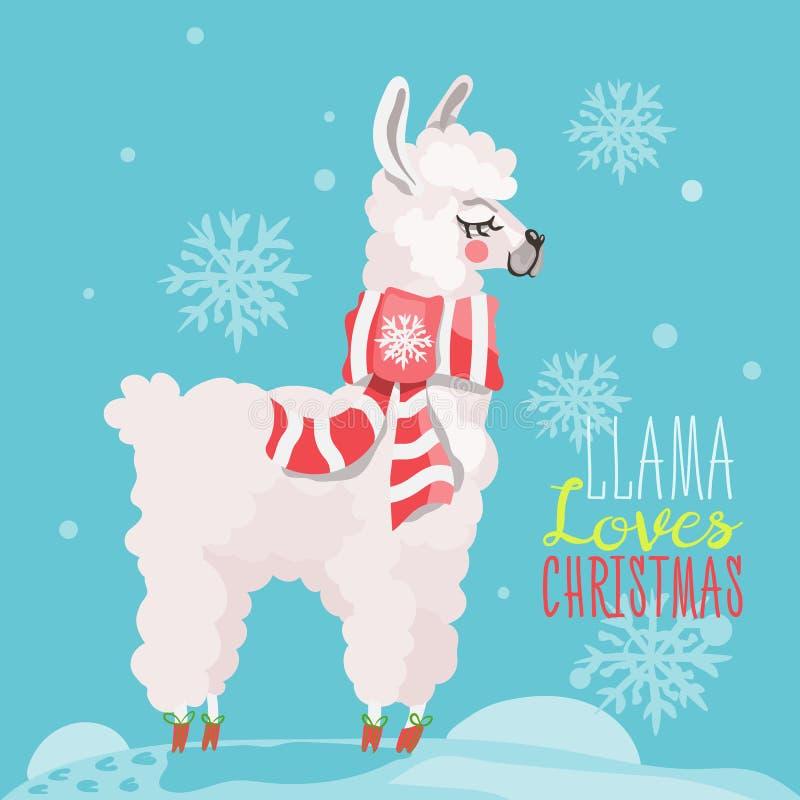 Carta divertente di Buon Natale con il lama illustrazione di stock