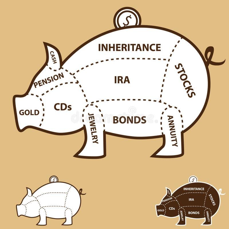 Carta do banco Piggy ilustração do vetor