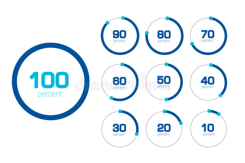 Carta do círculo, gráfico Projeto liso Moldes da porcentagem ajustados ilustração royalty free