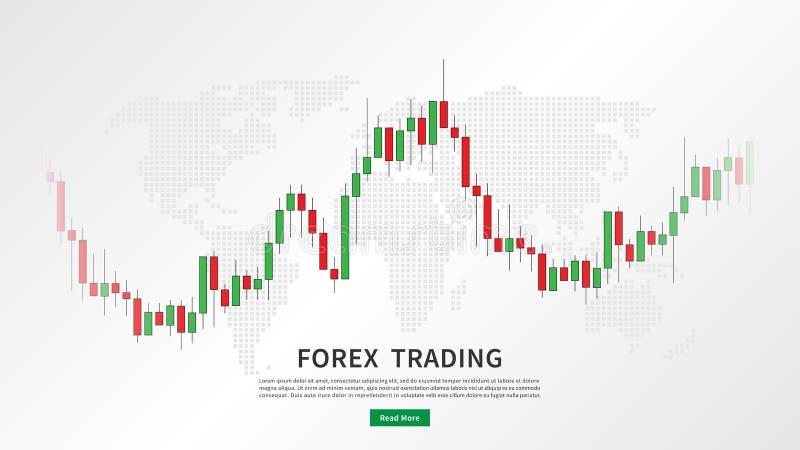 Carta do castiçal do mercado de valores de ação com mapa do mundo ilustração stock