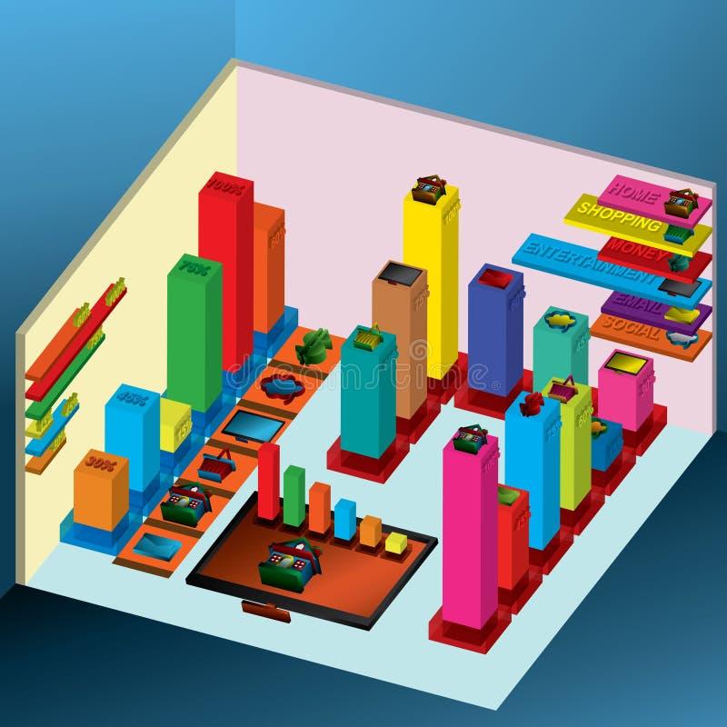 carta do gráfico 3D ilustração stock