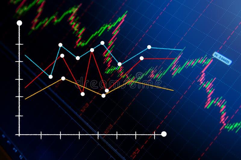 Carta do gráfico da vara da vela do mercado de valores de ação jpg ilustração stock