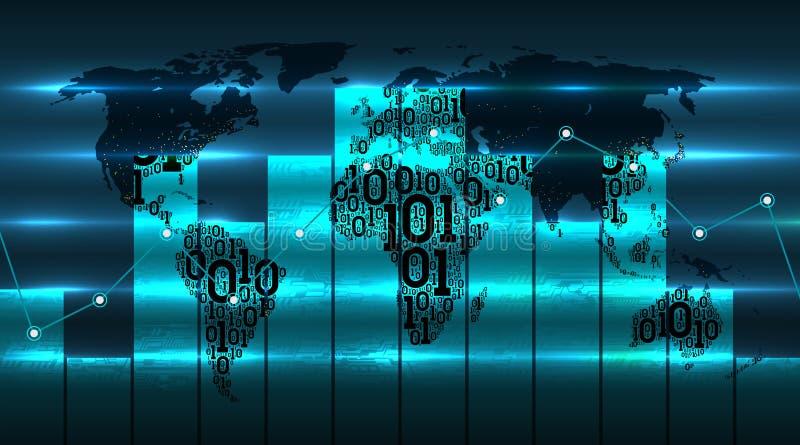 Carta do gráfico do desenvolvimento de tecnologias globais digitais contra do fundo do mapa do mundo Mapa da terra do código biná ilustração royalty free