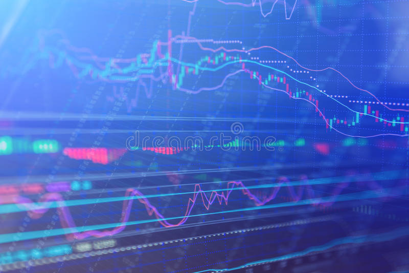 Carta do mercado de valores de ação, dados do mercado de valores de ação no azul no engodo da exposição de diodo emissor de luz imagens de stock