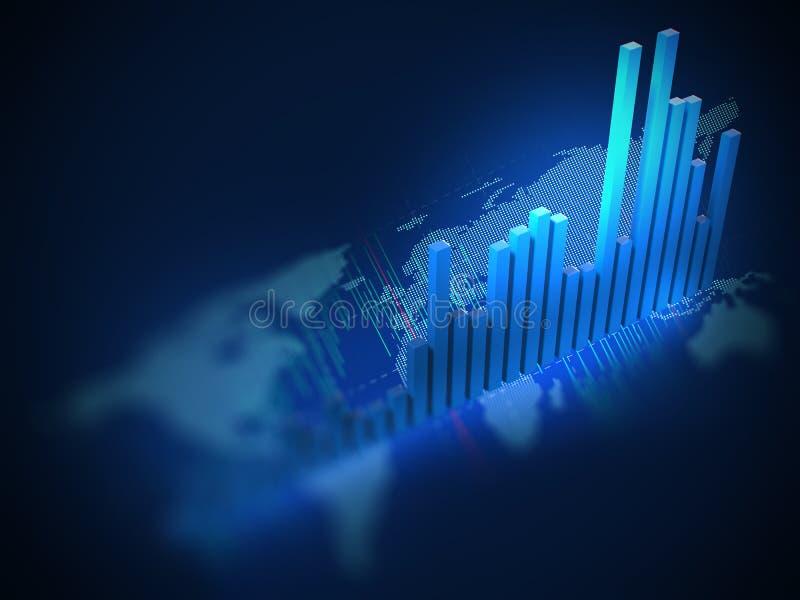 Carta do mercado de valores de ação na ilustração digital do mapa do mundo 3d ilustração do vetor
