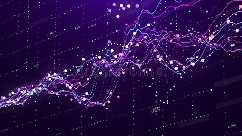 Carta do mercado de valores de a??o Dados grandes Gr?fico de neg?cio Gr?fico do investimento Carta financeira abstrata rendi??o 3 imagens de stock royalty free