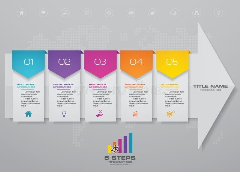 carta do molde do elemento do infographics da seta de 5 etapas para a apresentação 10 ilustração royalty free