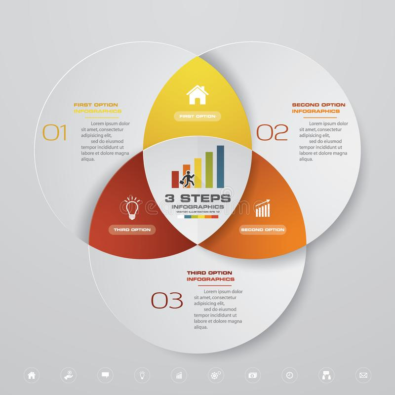 carta do molde do elemento do infographics de 3 etapas ilustração stock