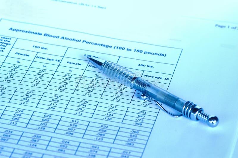 Carta do nível do alcholol do sangue imagens de stock