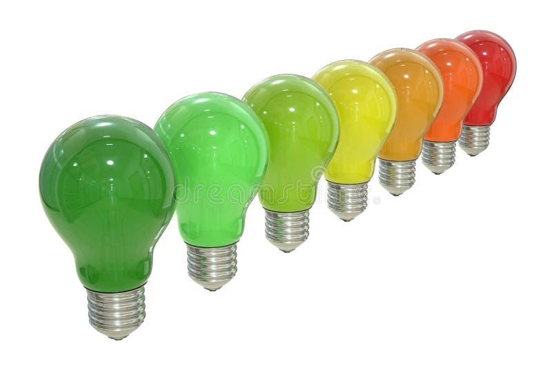 Carta do uso eficaz da energia com conceito das lâmpadas, rendição 3D ilustração do vetor