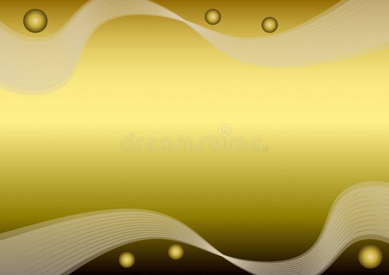 Carta dorata con i profili ondulati e le palle di pendenza, fondo lussuoso in bianco per il proprio messaggio, sovrapposizione no illustrazione di stock