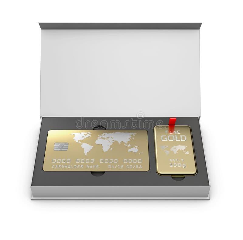 Carta dorata del membro con la barra dorata nella scatola, illustrazione 3d fotografia stock libera da diritti