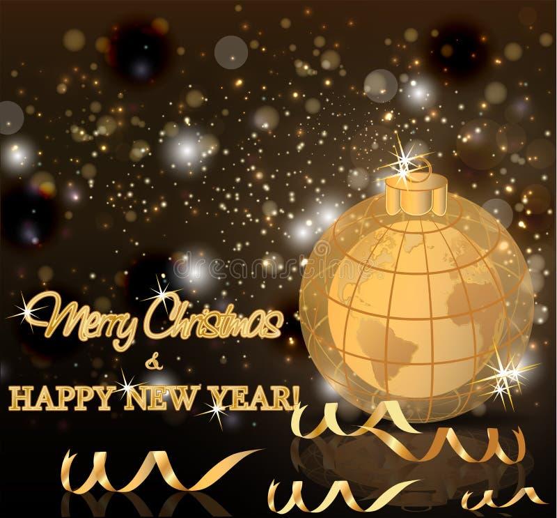 Carta dorata del nuovo anno di feste, vettore illustrazione di stock