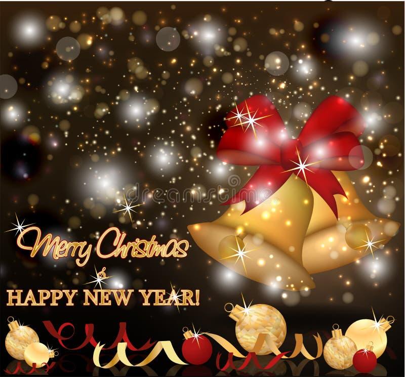 Carta dorata dell'invito del nuovo anno di feste illustrazione di stock