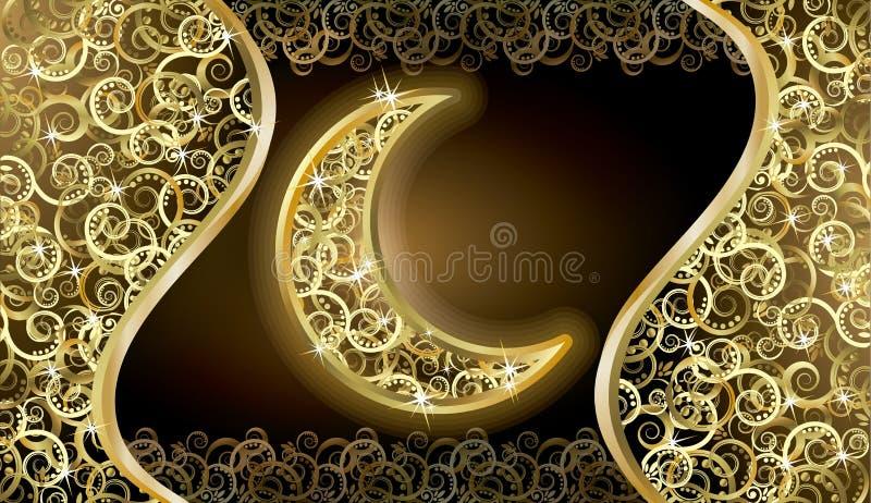 Carta dorata di feste con la luna, vettore illustrazione di stock