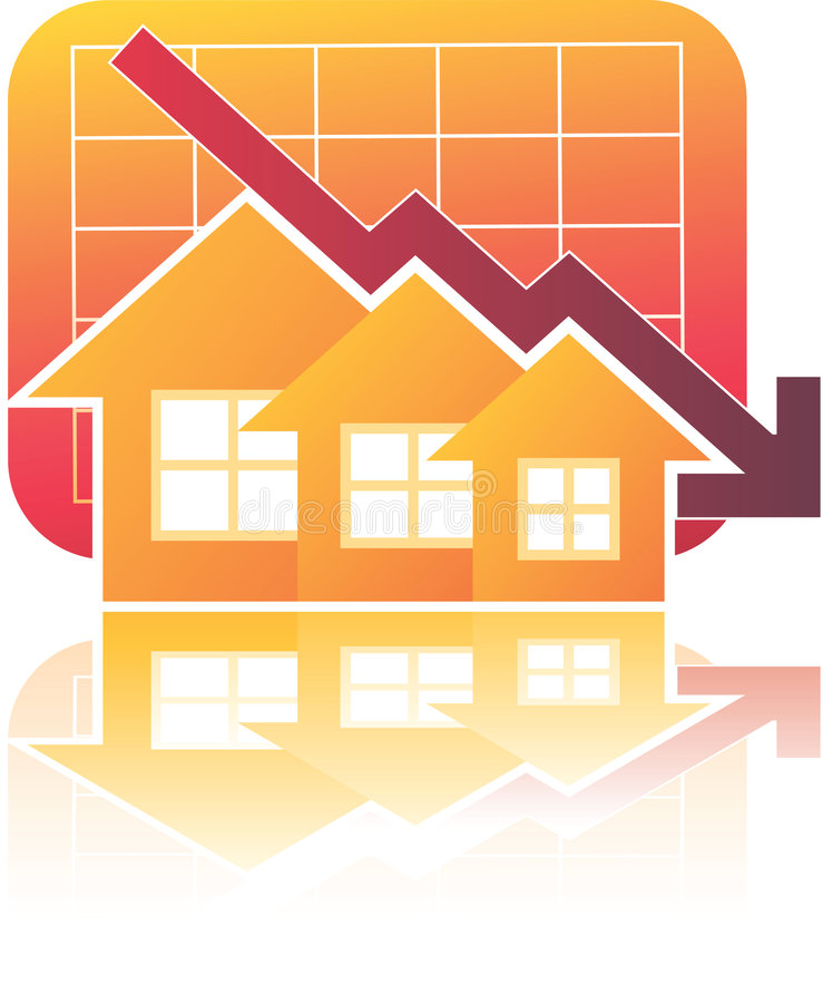 Carta dos bens imobiliários para baixo ilustração stock