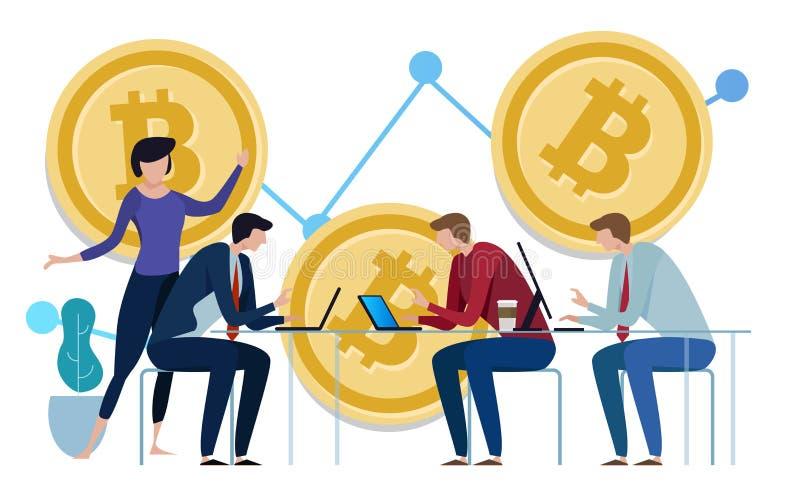 Carta dourada de Bitcoins acima do fundo Gráfico do crescimento do preço trabalho da equipe na monitoração da gestão de investime ilustração do vetor