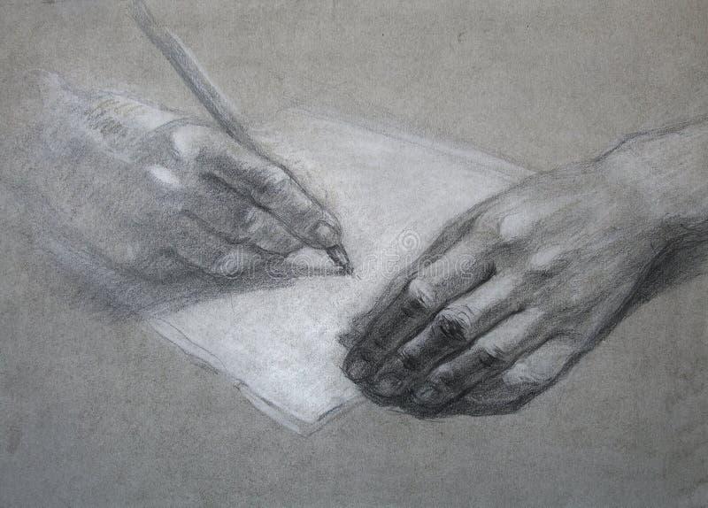 Carta. Drenaje de la mano stock de ilustración
