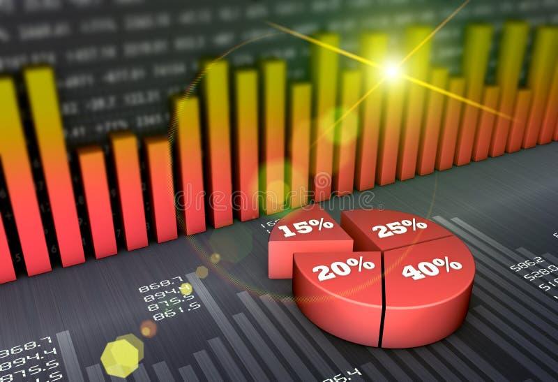 Carta e gráficos financeiros de negócio ilustração royalty free