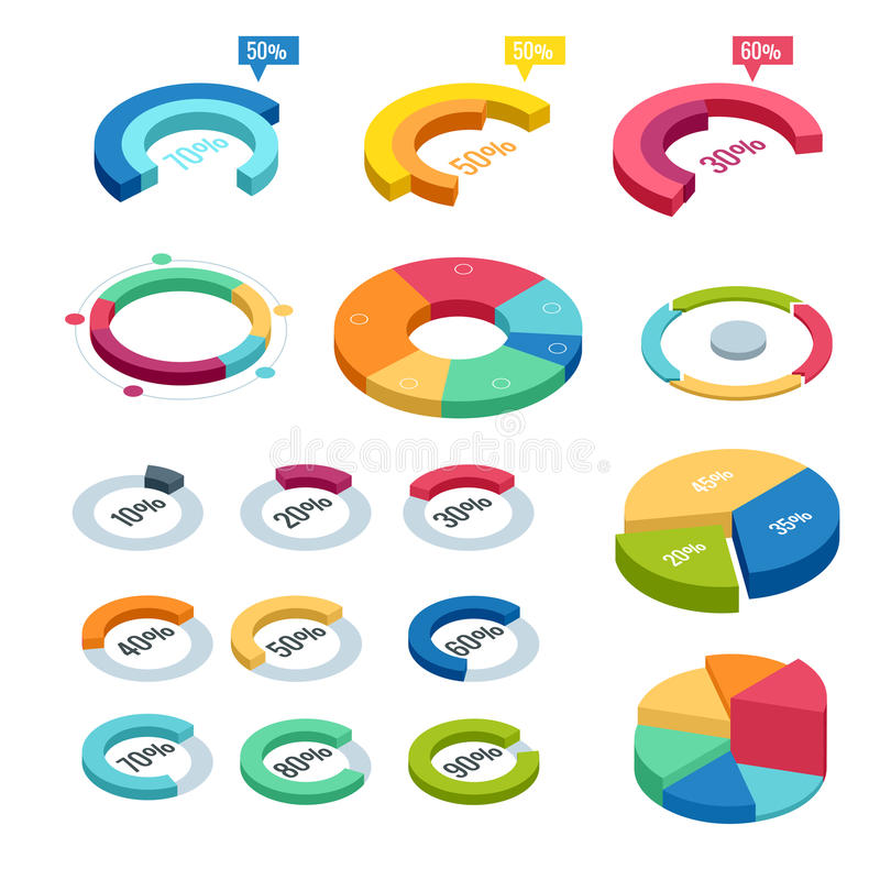 Carta e isométrica gráfico, finança dos dados do diagrama do negócio, relatório do gráfico, estatística dos dados da informação,  ilustração do vetor