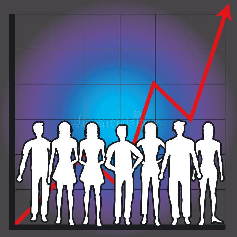 Carta e povos de negócio ilustração stock