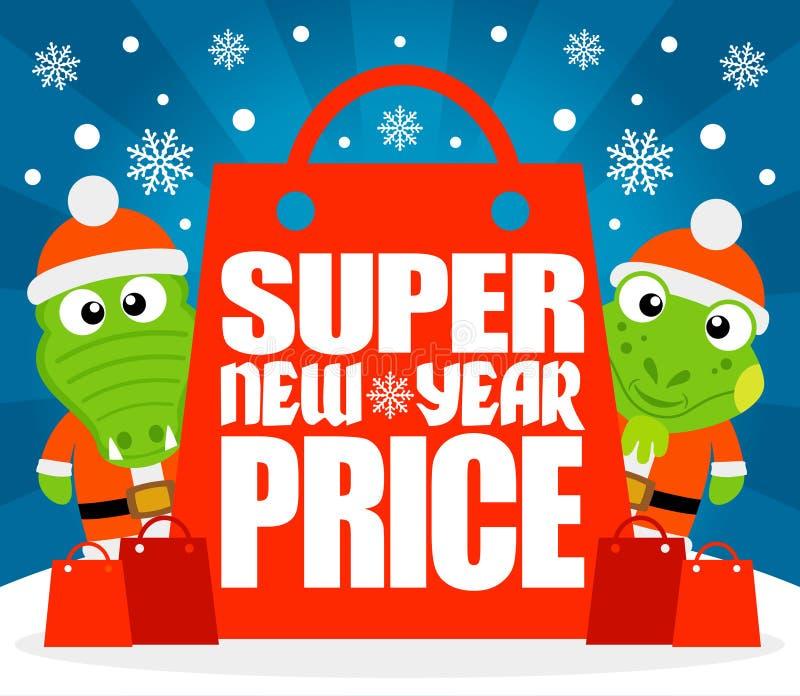 Carta eccellente di prezzi del nuovo anno con l'alligatore e l'iguana illustrazione vettoriale
