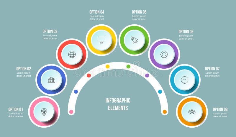 Carta el en semi-c?rculo, plantillas infographic de la cronolog?a ilustración del vector