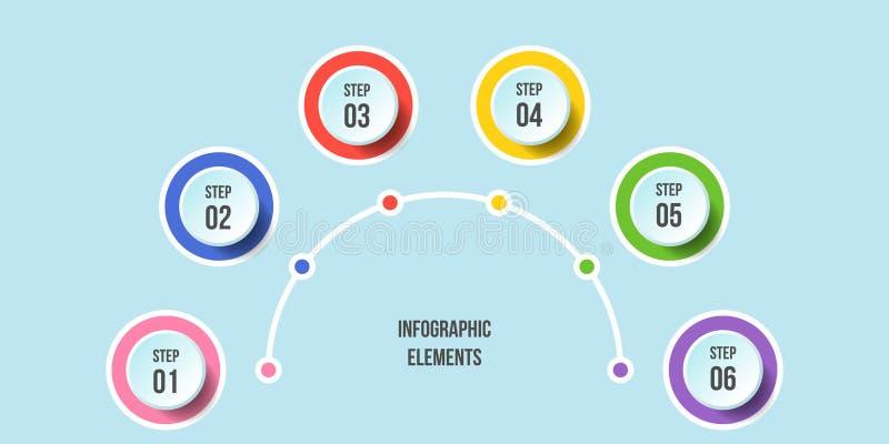 Carta el en semi-c?rculo, plantillas infographic de la cronolog?a libre illustration