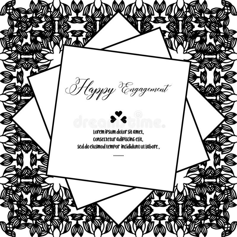 Carta elegante, con iscrizione dell'impegno felice, struttura floreale elegante di progettazione in bianco e nero Vettore royalty illustrazione gratis