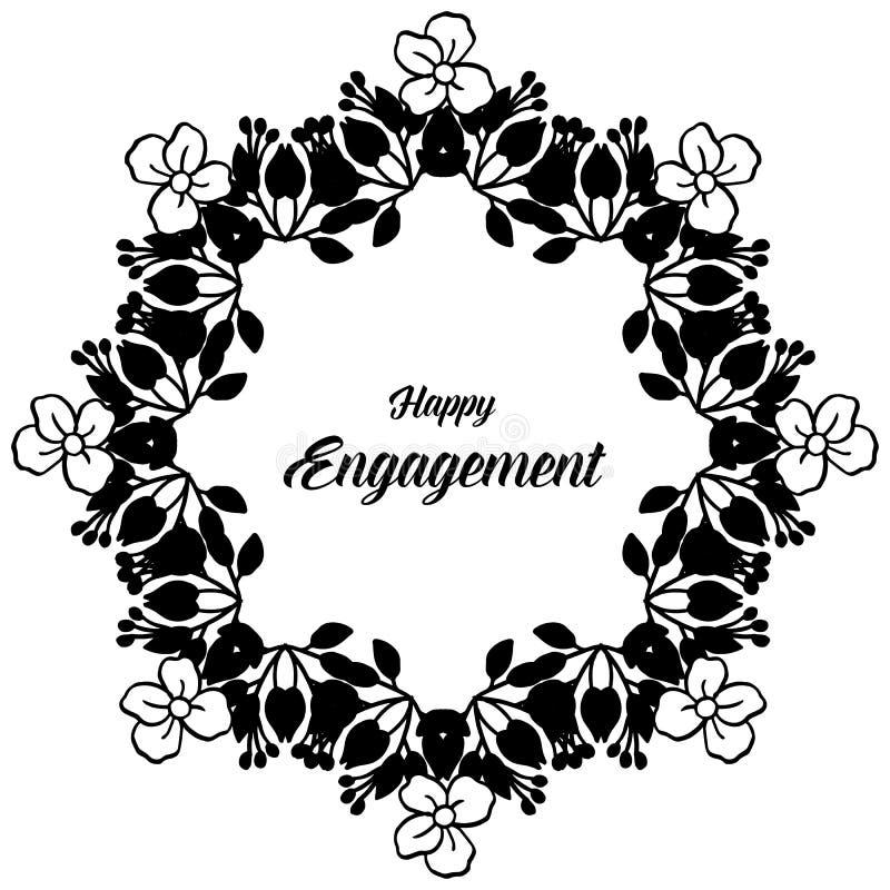 Carta elegante, con iscrizione dell'impegno felice, struttura floreale elegante di progettazione in bianco e nero Vettore illustrazione di stock