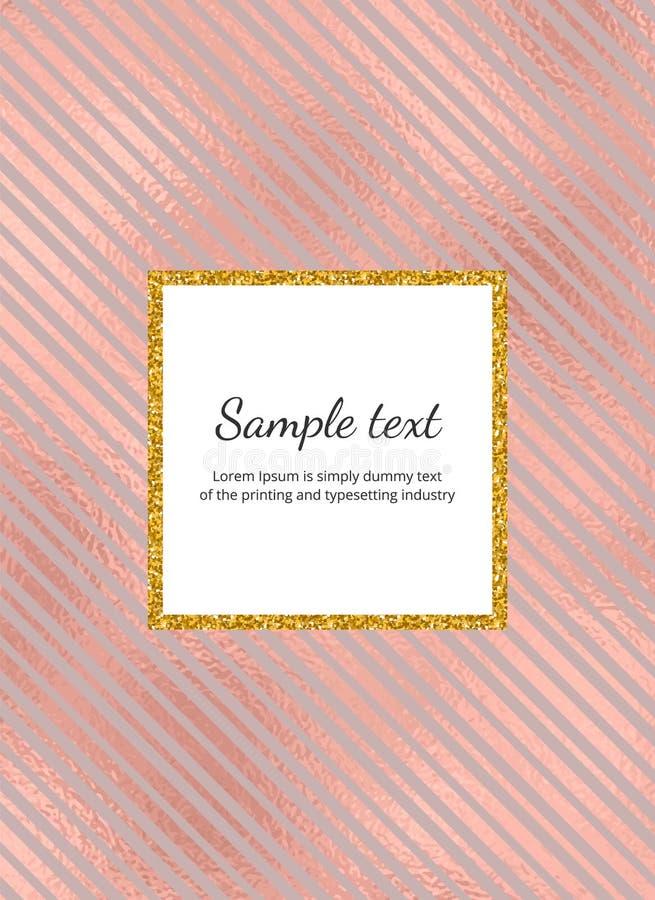 Carta elegante con le linee rosa della stagnola di oro e la struttura dorata di scintillio Modello per l'invito, nozze, insegna,  illustrazione di stock