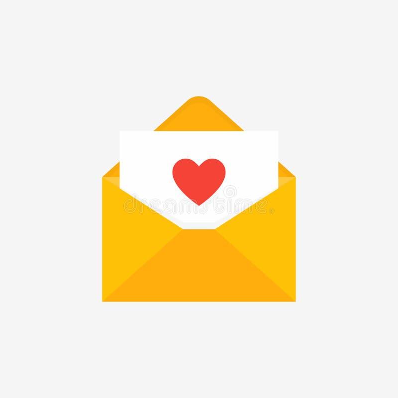Carta em papel com coração dentro Conceito de audiências de correio isolado Tendência estilo plano ilustração do vetor