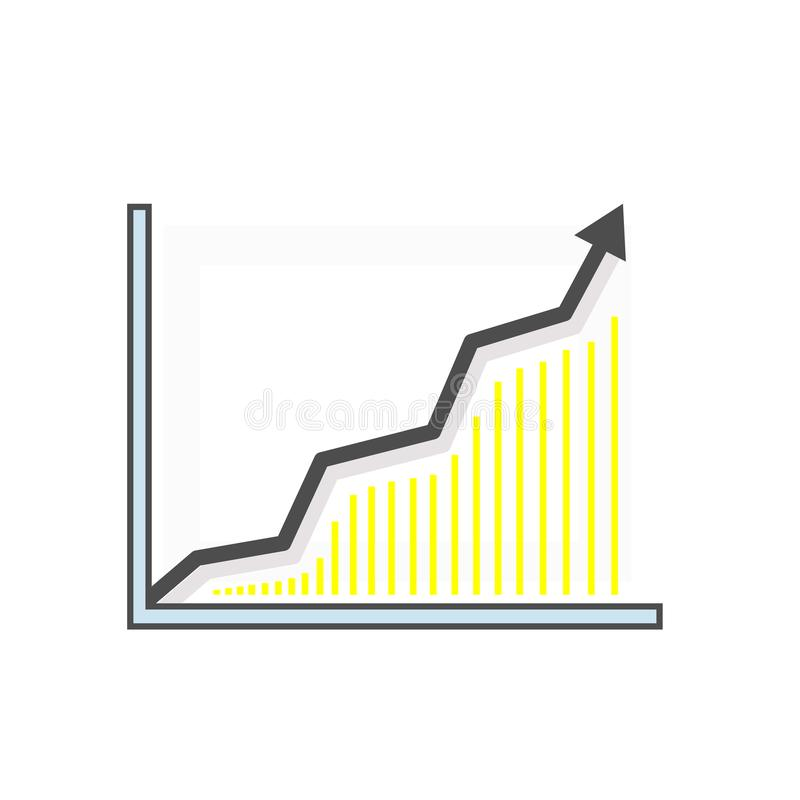 Carta estadística Las subidas y los puntos de la flecha hacia arriba Icono linear moderno ilustración del vector