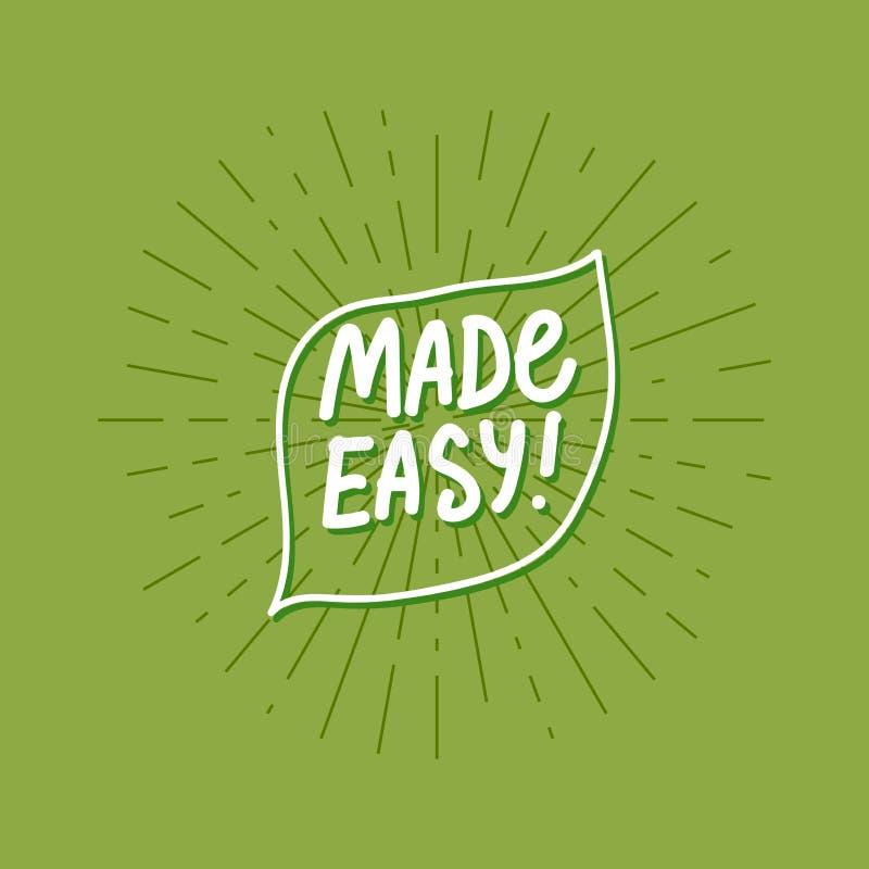 Carta facile fatta di vettore con l'iscrizione scritta a mano sul fondo verde dei raggi illustrazione di stock