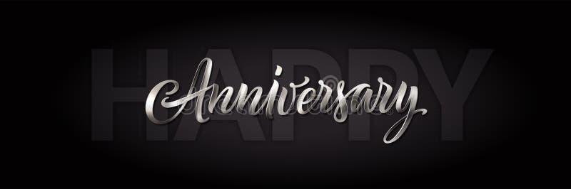 Carta felice in bianco e nero di anniversario Insegna di saluto di vettore con testo d'argento Iscrizione d'annata 3d Calligrafia illustrazione di stock