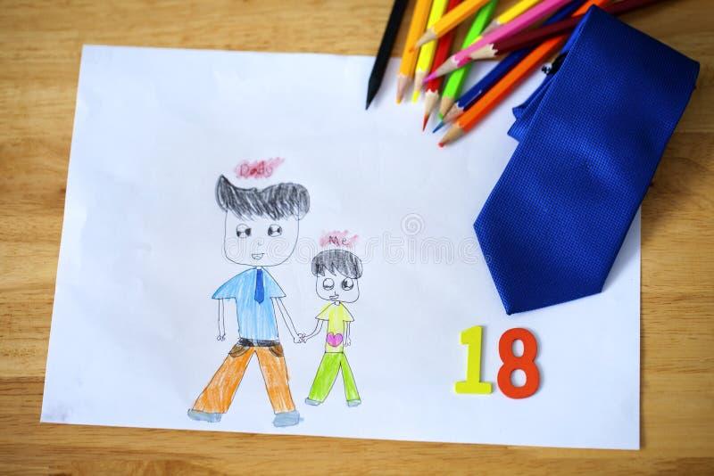"""Carta felice di festa del papà del disegno del bambino con le parole polacche: Padre """" fotografie stock libere da diritti"""