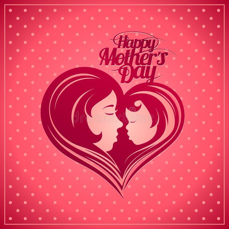 Carta felice di festa della Mamma con la siluetta del bambino e della madre illustrazione vettoriale