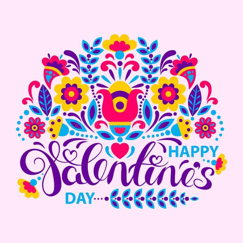 Carta felice di giorno di biglietti di S. Valentino con i fiori illustrazione di stock