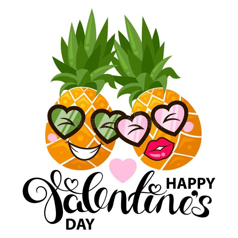 Carta felice di giorno di biglietti di S. Valentino con l'ananas ed il cuore illustrazione di stock