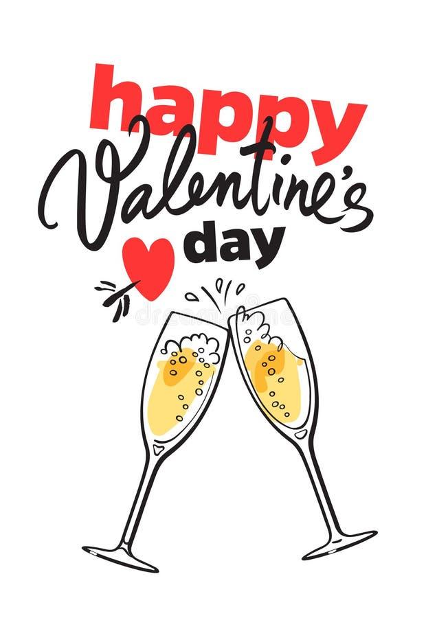 Carta felice di giorno del biglietto di S. Valentino s con iscrizione scritta a mano, cuore rosso penetrante dalla freccia e due  royalty illustrazione gratis