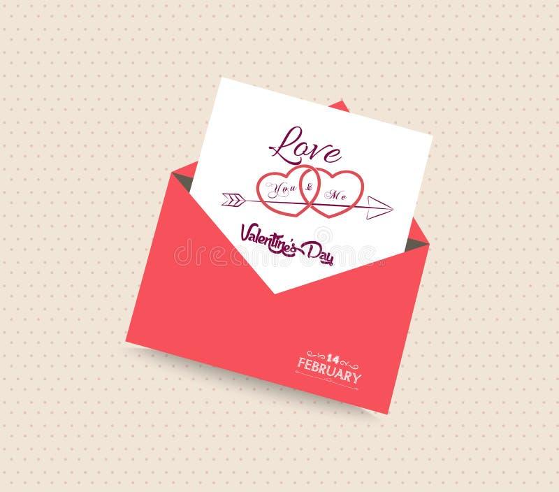 Carta felice di giorno di biglietti di S. Valentino con il cuore della busta royalty illustrazione gratis