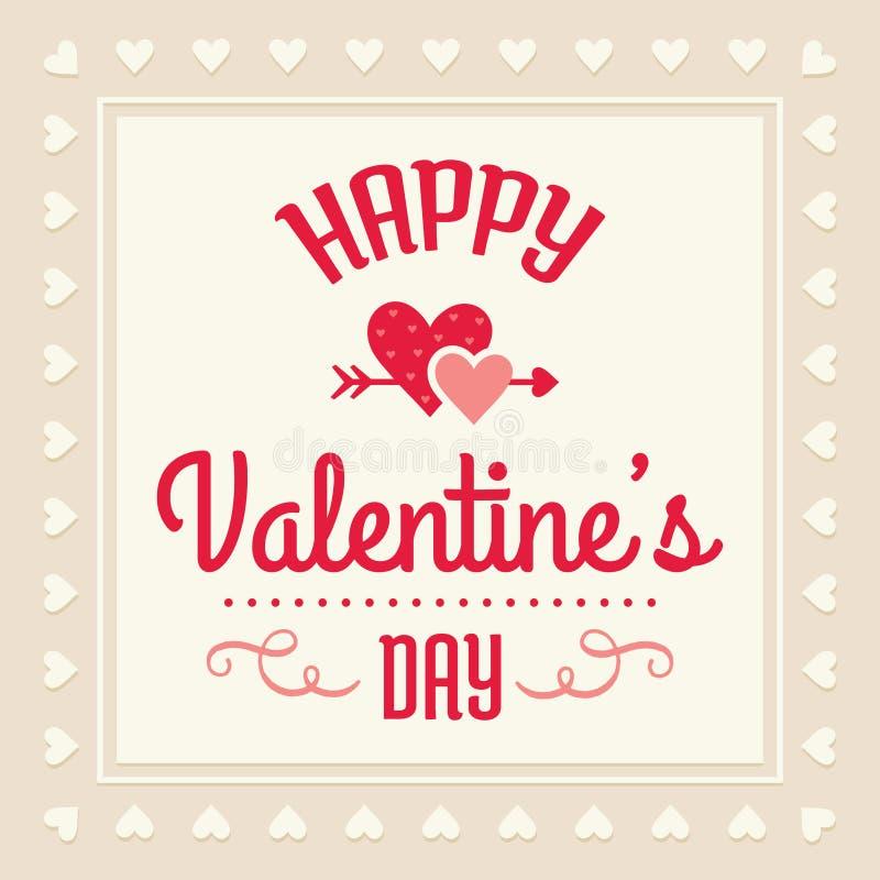 Carta felice di giorno di biglietti di S. Valentino in crema e nel rosso illustrazione vettoriale