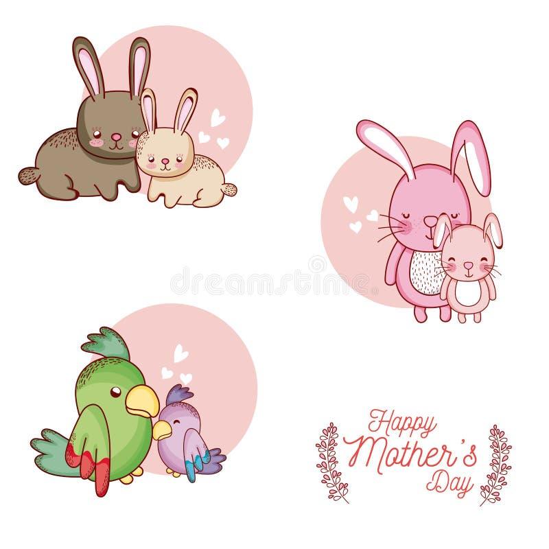 Carta felice di giorno di madri con i fumetti svegli degli animali royalty illustrazione gratis