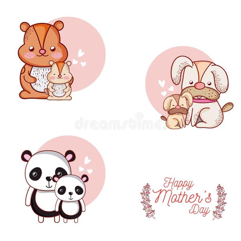 Carta felice di giorno di madri con i fumetti svegli degli animali illustrazione vettoriale