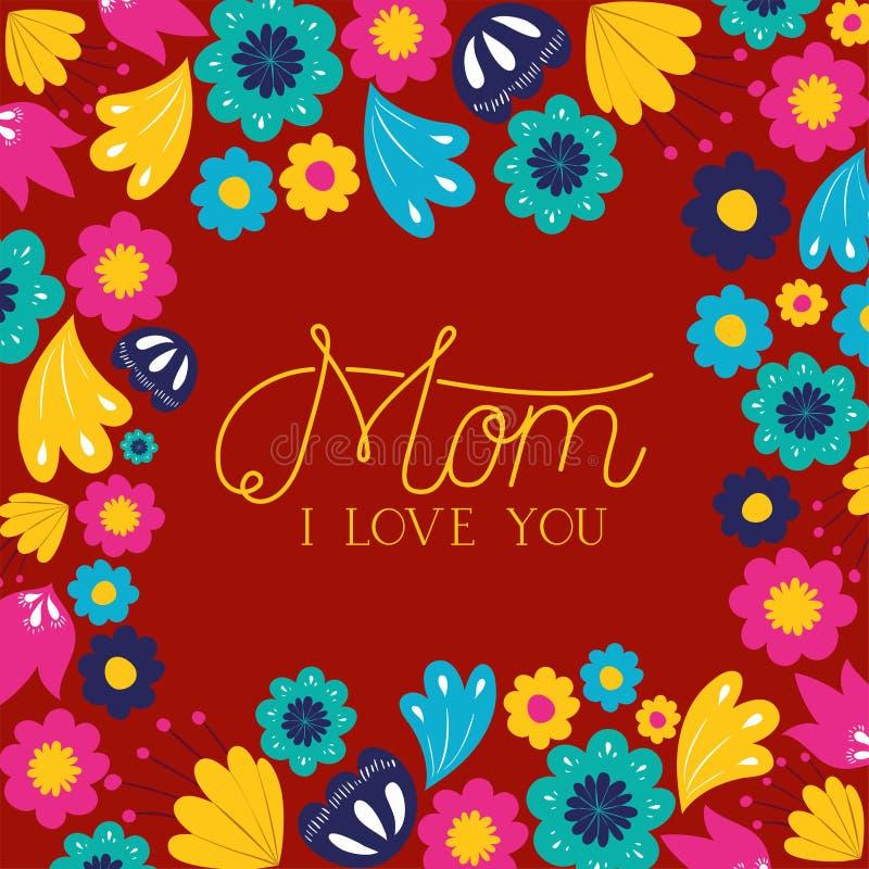 Carta felice di giorno di madri con la decorazione floreale royalty illustrazione gratis