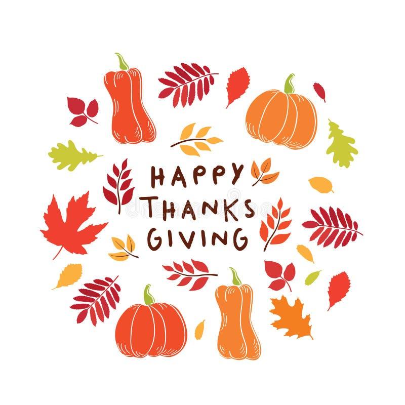 Carta felice di giorno di ringraziamento Fondo con le foglie e le zucche di autunno royalty illustrazione gratis