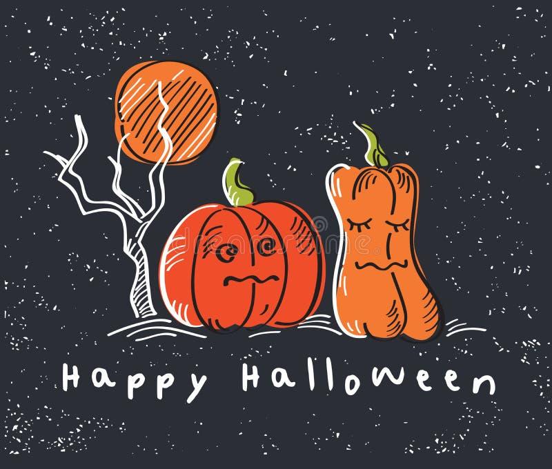 Carta felice di Halloween con le zucche arancio Fondo scuro royalty illustrazione gratis