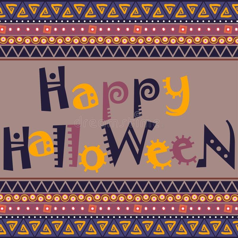 Carta felice di Halloween con progettazione africana dell'ornamento illustrazione di stock